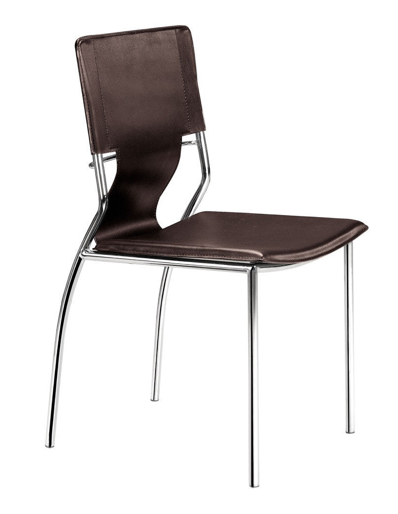 Trafico Dining Chair In Espresso Leatherette U0026 Chrome (Set Of 4) Dining  Chairs ...