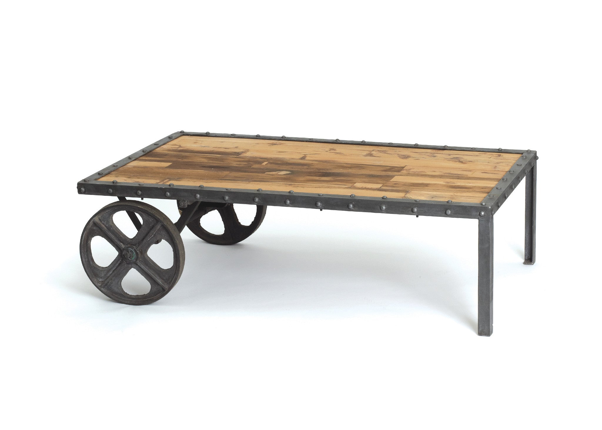 Transfer Cart Coffee Table In Reclaimed Wood And Vintage Industrial Steel Coffee  Tables Alan
