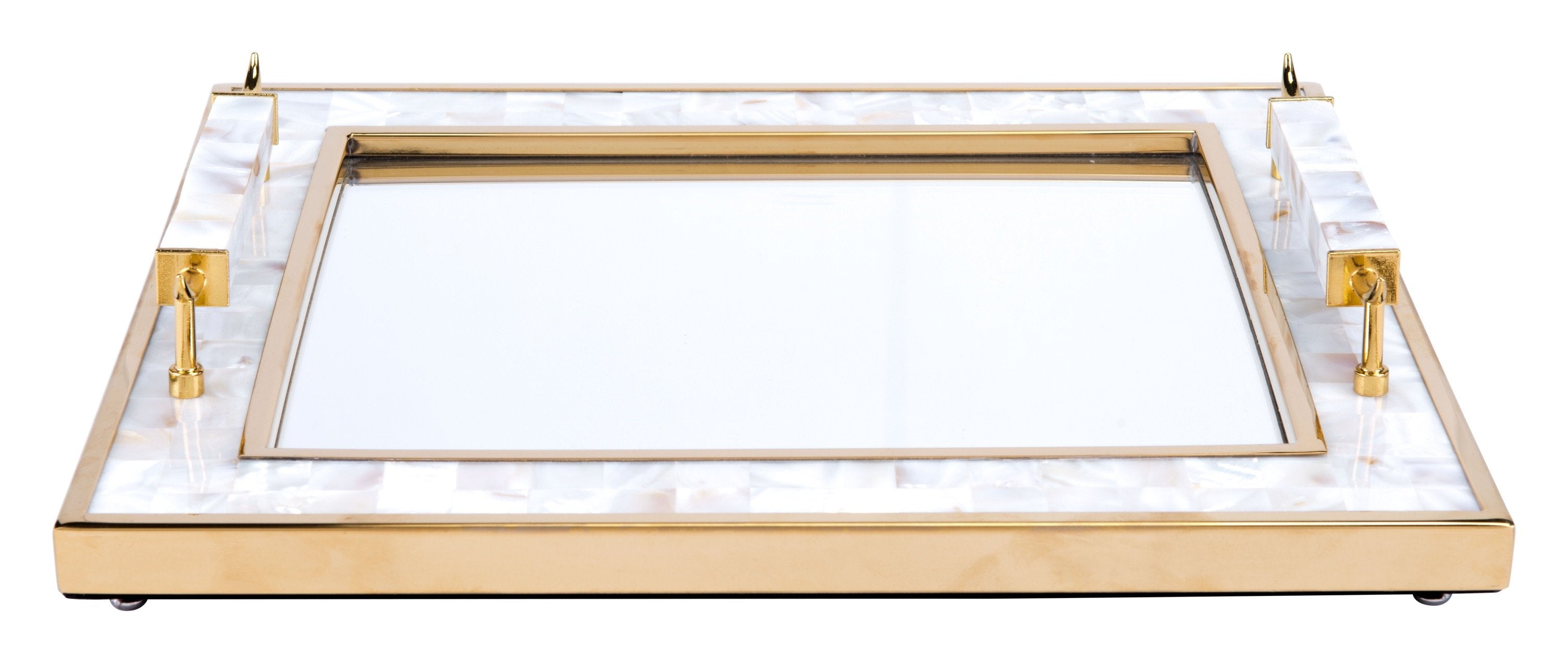 tray with mother of pearl frame and horn handles in white and gold trays - Mother Of Pearl Frame