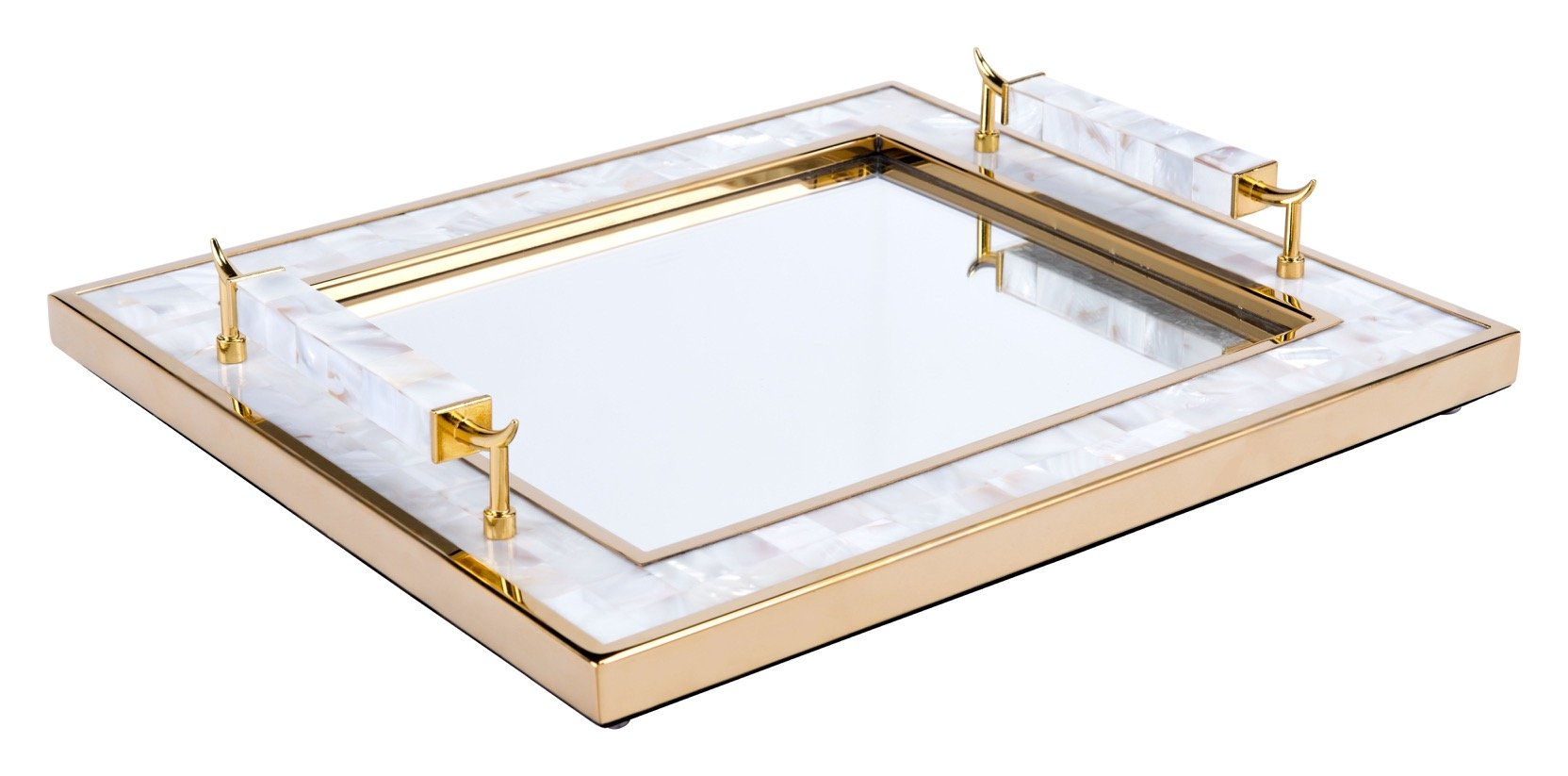 tray with mother of pearl frame and horn handles in white and gold