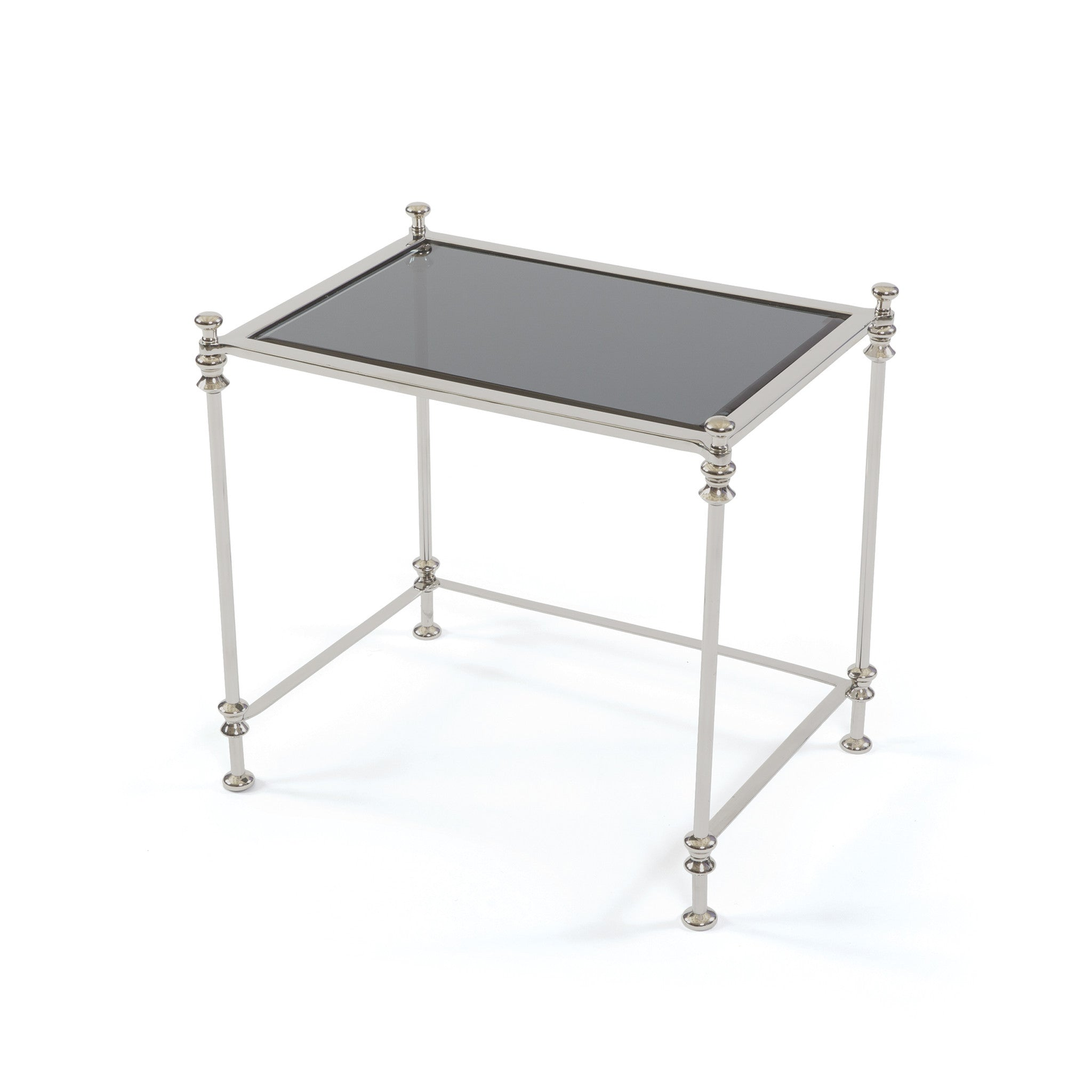 Waldorf Side Table With Glass Top On Polished Stainless Steel And Aluminum Side  Tables