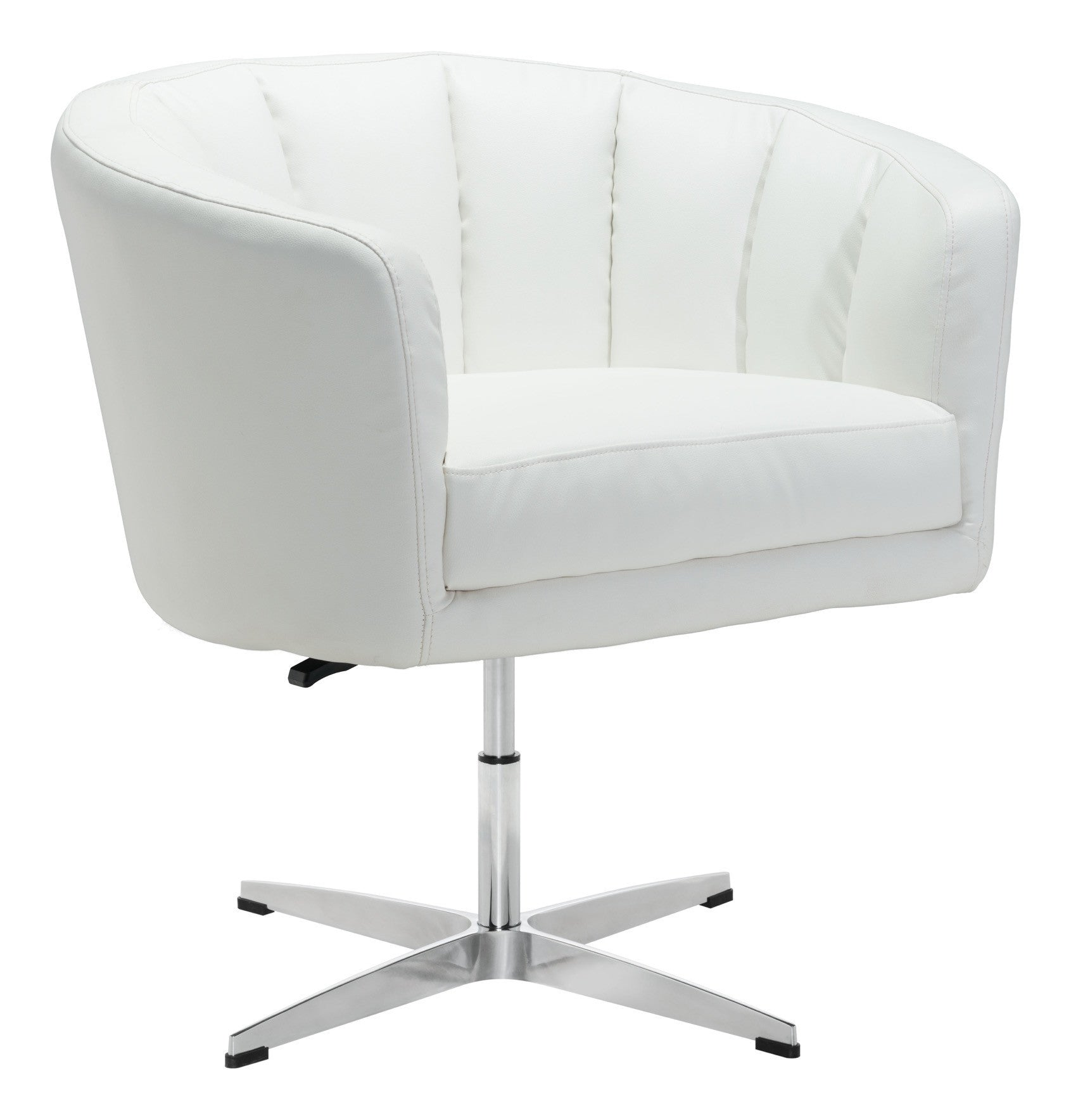 Wilshire Occasional Chair in White Leatherette on Aluminum Base-Accent Chairs-Alan Decor ...  sc 1 st  Alan Decor & Wilshire Occasional Chair in White Leatherette on Aluminum Base