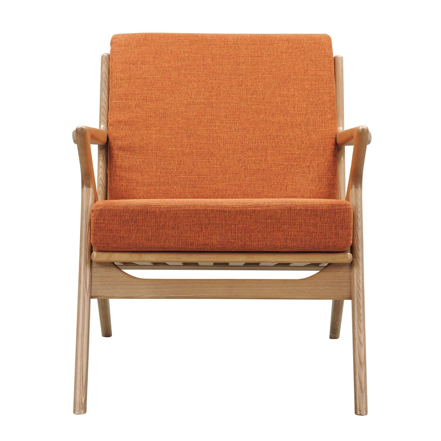 ... Zain Chair In Burnt Orange Fabric With Natural Frame Accent Chairs Alan  Decor ...