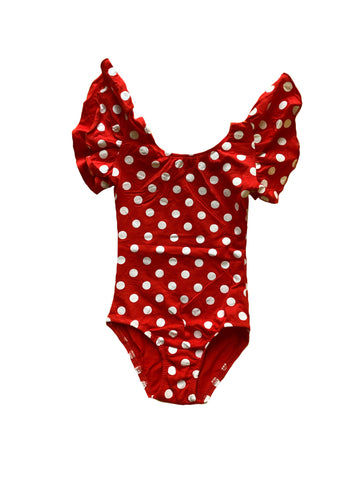 Red w/ White Polkadots Flutter Sleeve Leotard