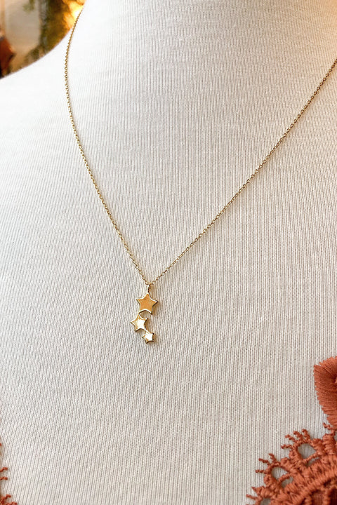 Three Star Gold Necklace