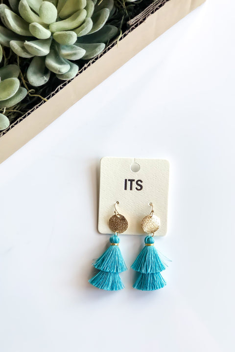 Glitter Party Earrings- Turquoise