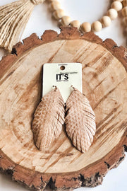 Rhythm of Love Feather Earrings- Taupe