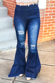 L&B Heart a Mess Distressed Super Flare Jeans- Dark Denim