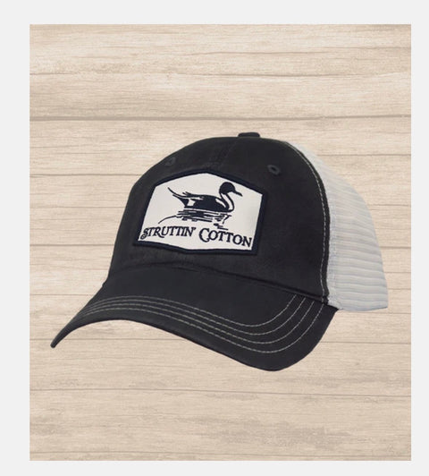 Struttin' Cotton Pintail Patch Trucker Cap- Charcoal