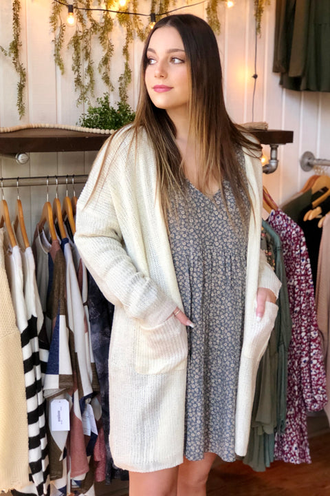 Let's Talk Cardigan- Ivory