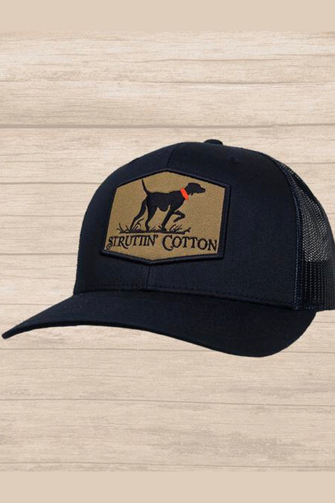 Struttin' Cotton Pointer Patch Snap Back Trucker Hat - Solid Navy