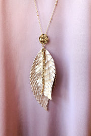 Leather Feather Necklace- Rose Gold