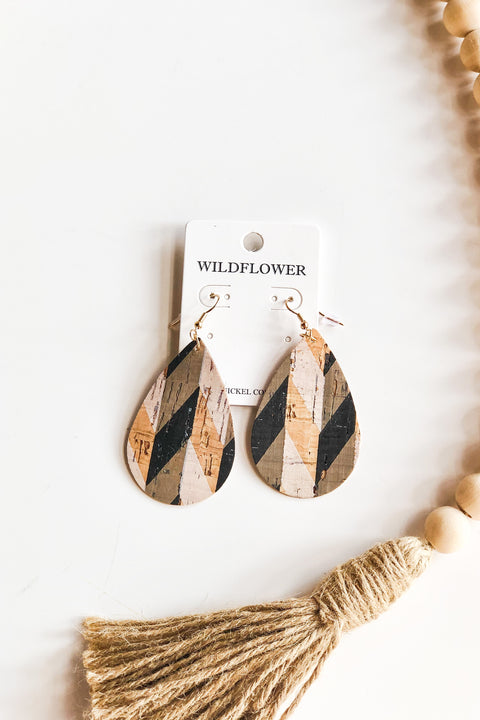 Cork It Out Earrings- Geometric