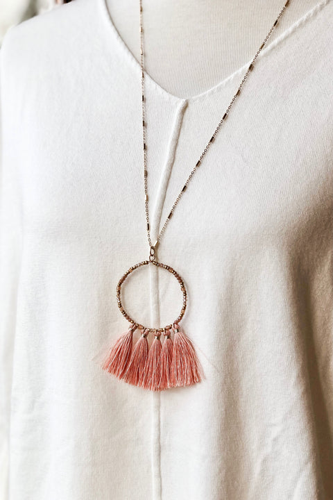 Run to Me Tassel Necklace- Rose