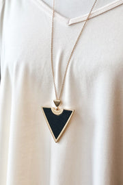 Directions Wood & Metal Necklace- Black