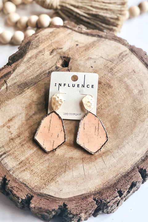 Distressed Dream Cork & Metal Earrings- Peach