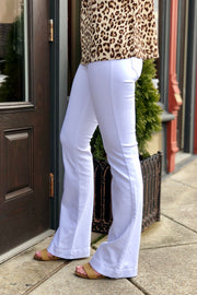A Girl With Flair Mid Rise Flare White Jegging