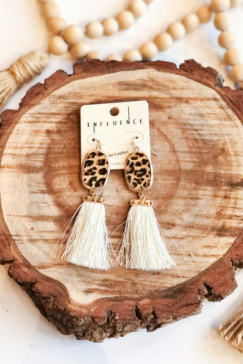 Love Fiercely Leopard Tassel Earrings- Ivory