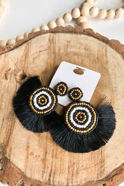 Hollywood Fringe & Seed Bead Earrings- Black