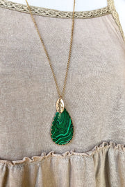 Cara Natural Stone Necklace- Green