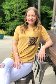 Wild Side Leopard Pocket Tee - Mustard