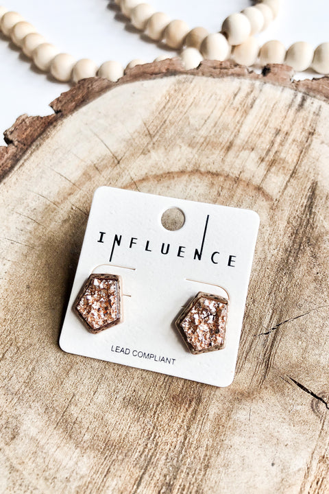 Salt of the Earth Druzy Stud Earrings- Rose Gold