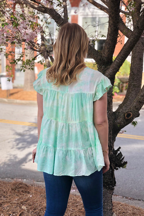 Sunny Day Tie Dye Top- Lime