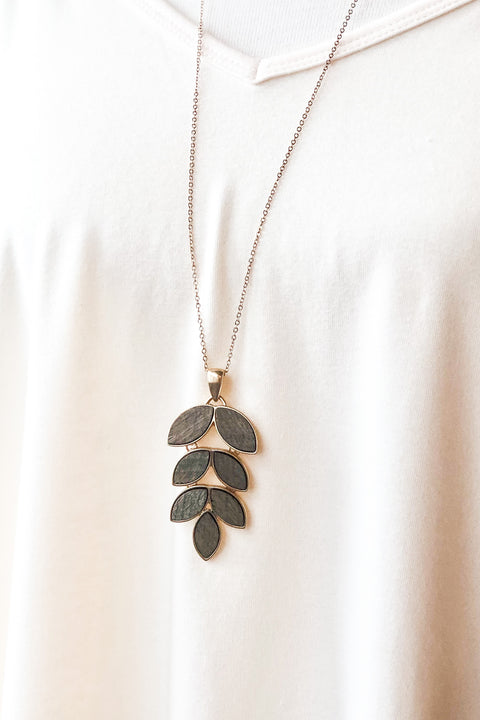 Cabin Fever Leaf Necklace- Grey