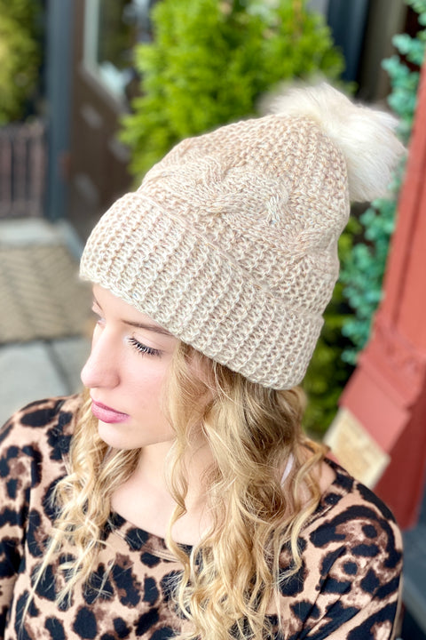 Fuzzy Feelings Cable Knit Beanie- Beige
