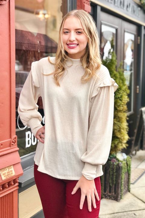 Picture Perfect High Neck Ribbed Knit Top