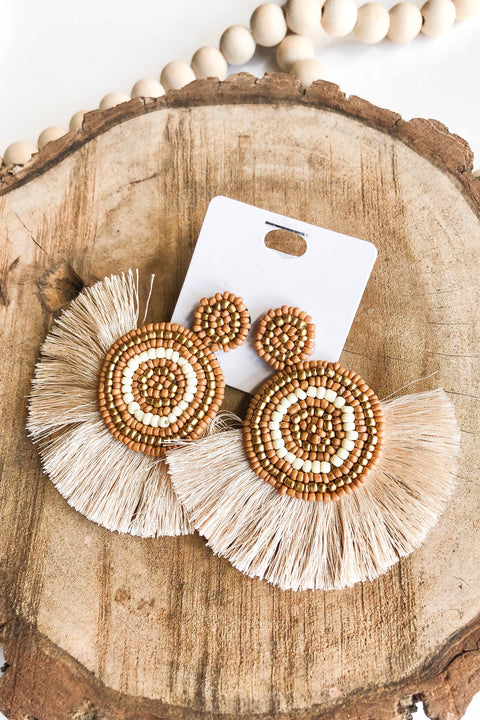 Hollywood Fringe & Bead Earrings- Beige
