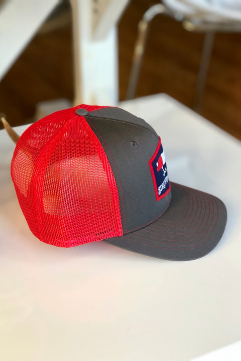 Struttin' Cotton Lure Patch Snap Back Charcoal & Red Trucker Hat