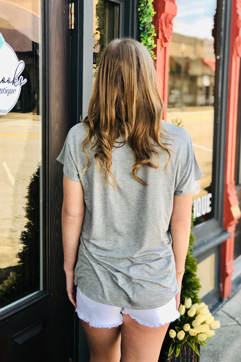 Love for Leopard Relaxed Pocket Tee- Heather Grey