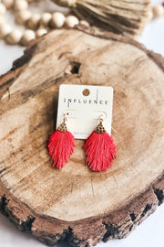 Fan Favorite Tassel Fringe Earrings- Red