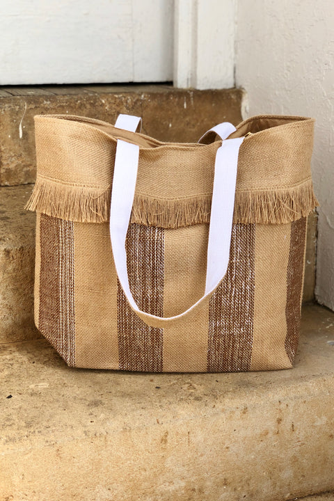 Take Me Away Glittery Jute Tote Bag- Gold
