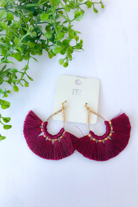 Carrie Teardrop Fringe Earrings- Burgundy