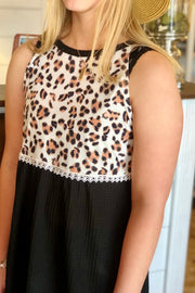 Right At Home Leopard & Waffle Knit Tank (S-2X!)