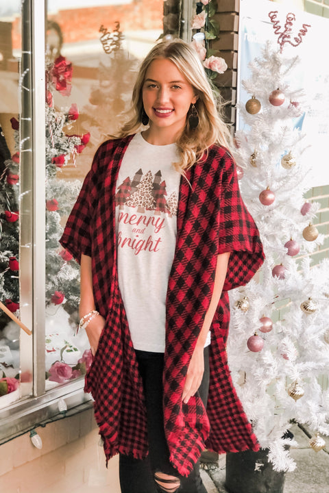 Feeling Festive Reversible Buffalo Plaid Kimono- Red & Black