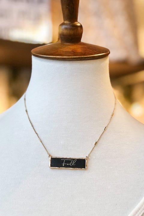"""Faith"" Leather Bar Necklace- Black"