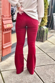 YMI Forever Yours Flare Jeans- Burgundy
