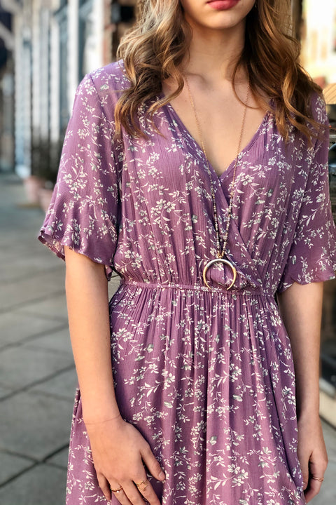 Lavender Fields Floral Midi Dress