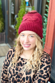 Fuzzy Feelings Cable Knit Beanie- Burgundy