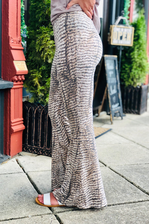 New Season Snake Print Flare Pants