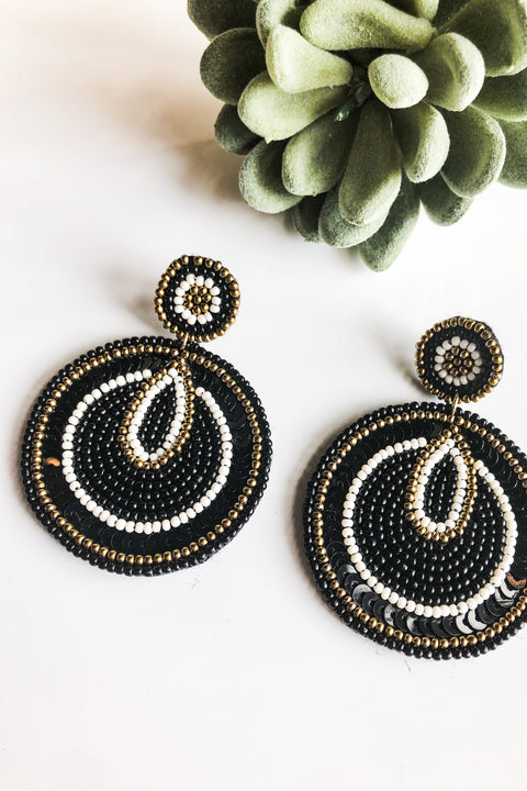 Fiji Sequin & Seed Bead Earrings- Black