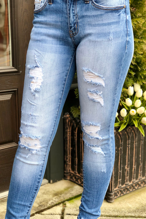 KanCan Wild Heart Distressed Jeans