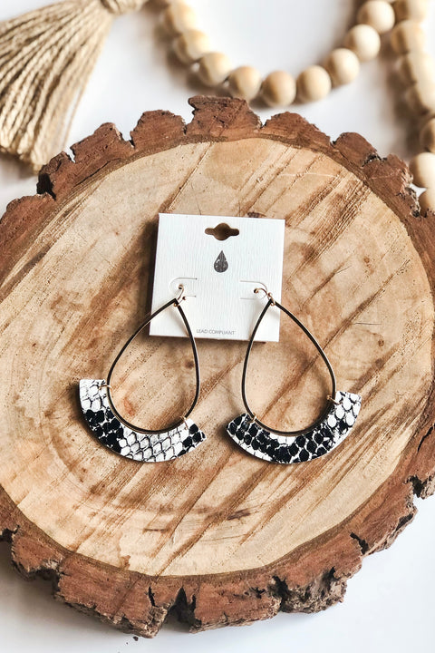 Lovely Day Earrings- Snake Print