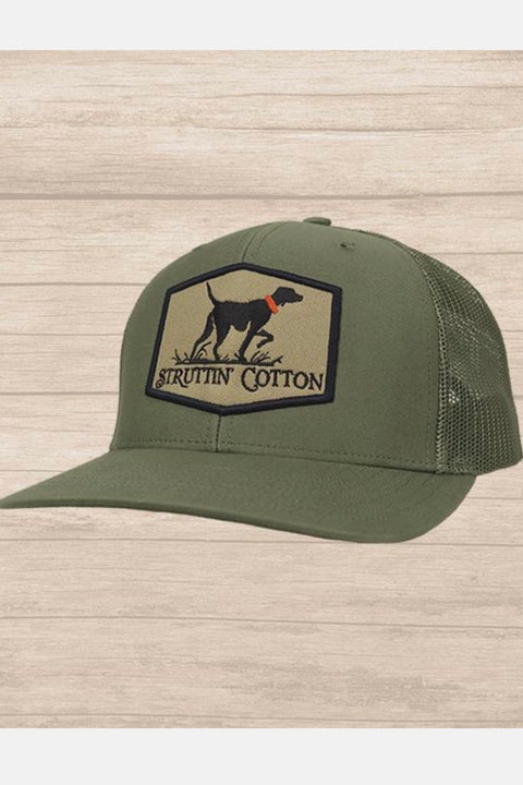 Struttin' Cotton Pointer Patch Snap Back Trucker Hat - Olive