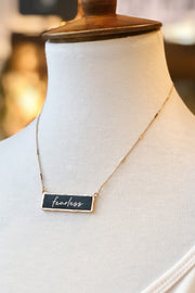 """Fearless"" Leather Bar Necklace- Black"