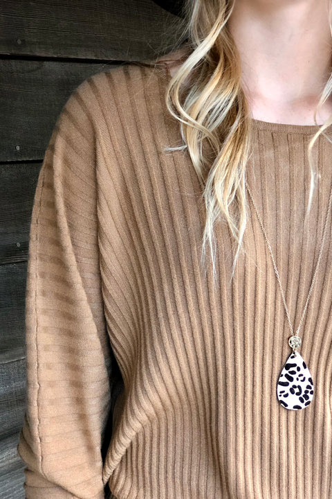 Highs and Lows Ribbed Sweater- Camel