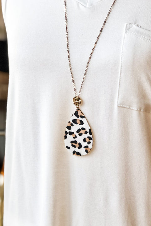 Show Some Love Necklace- White Leopard